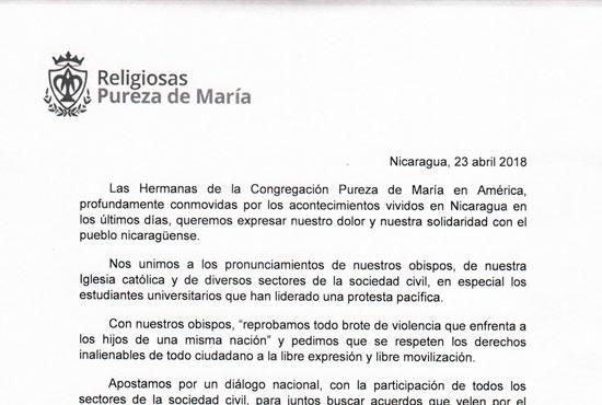 comunicado 23 abril 2018 Nicaragua